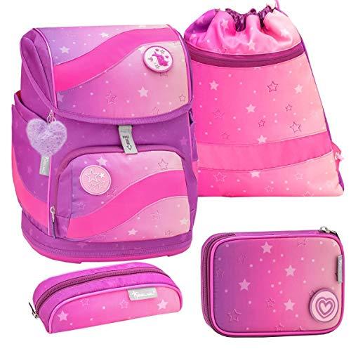 Belmil ergonomischer Schulrucksack Schulranzen Set 5 -teilig für Mädchen 1-4 Klasse Grundschule mit Patch Set/Brustgurt, Hüftgurt/Magnetverschluss/Pink (405-51 Ombre)