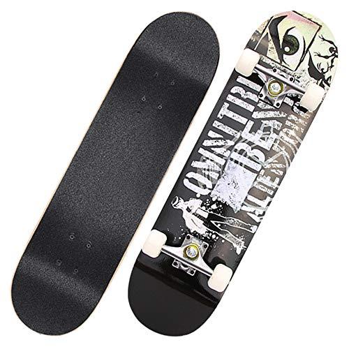 GCJJ-HSY 31-tums Professionell Skateboard Komplett, 7-våning Lönn Skateboard, Lämplig För Barn I åldern 6-12, Pojke, Tonåring, Vuxen Skateboard (street Boy)