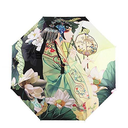 JIEIIFAFH ópera de Pekín del Paraguas Plegable for Las Mujeres Anti-UV Sombrilla Protector Solar a Prueba de Viento del Estilo Chino de Doble Uso Soleado y Lluvia Paraguas