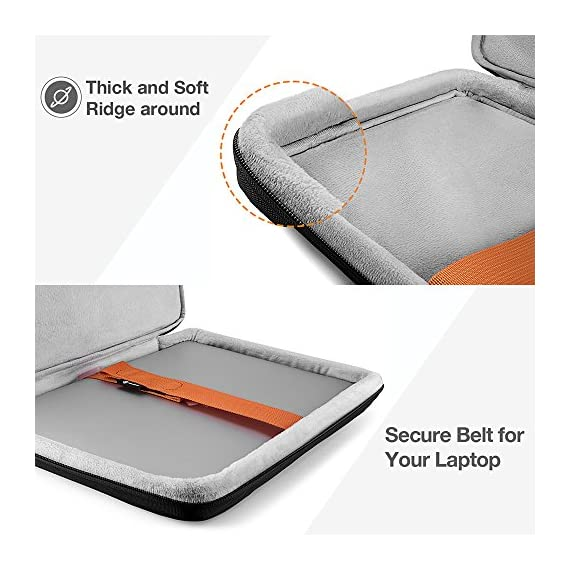 tomtoc Recycled Laptop Sleeve for 13-inch MacBook Air M1/A2337 2018-2021, MacBook Pro with USB-C M1/A2338 2016-2021, 12… 4 CornerArmor Patent Design - Protective CornerArmor patent design at the bottom of the case and 360° protective soft padding around inside protect your laptop from bumps in accident, just like the Car Airbag Stay Organized – Except the main compartment for your laptop, this case also features a second large zipper compartment for additional storage such as iPad mini, charger, power adaptors, cables, mouse and other accessories Ultra-Secure – Specially designed secure belt with Velcro inside the 180° opening main compartment protect your laptop from sudden drop. Ultra-thick protective cushioning interior ensures your laptop from bumps, dents, scratches and spills at all times