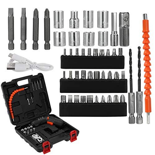 Cordless Drill Set- 45 Piece Kit, 18-Volt Power Tool with Screwdriver, Socket, Drill, Pole Set and Carrying Cas【US in Stock】 (Black)