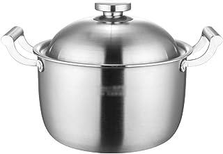 Crisol De La Sopa De Acero Crisol Stock Cocinar Olla Olla 304 Olla De Acero Inoxidable De Cinco Capas De Material Compuesto Utensilios De Cocina Antiadherente (Color : Silver, Size : 26cm)