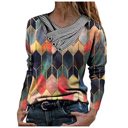 MEITING Damen Pullover Mit Knopfkragen Herbst Winter Hoodie Sweatshirt Langarm für Frauen Mit Motiv Bedruckte Stickkragen Langarm Pullover Bluse Tops
