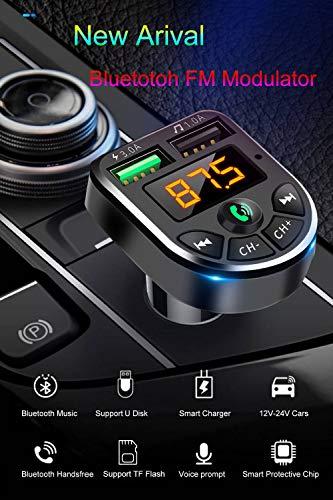 Bluetooth transmisor FM reproductor de mp3con doble puerto USB cargador para el coche con entrada auxiliar de 3,55mm inalámbrico Kit de coche música Control y Manos Libres Llamada apoyo tarjeta SD/USB para iPhone iPad Samsung Smartphone