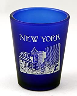 New York USA Cobalt Blue Frosted Shot Glass