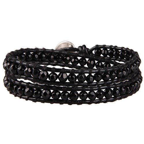 KELITCH Charm 2 Wrap Bracelets Hand Braided Leather Strand Bracelets Onyx Fashion Jewelry Unisex (Black)