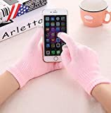 Guantes de Punto para Mujer Guantes Gruesos cálidos de Invierno con Pantalla táctil Manoplas sólidas para Tableta de teléfono móvil-Pink-1