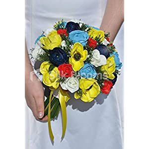 Rustic Yellow Anemones, Red & Blue Roses Bridal Wedding Bouquet