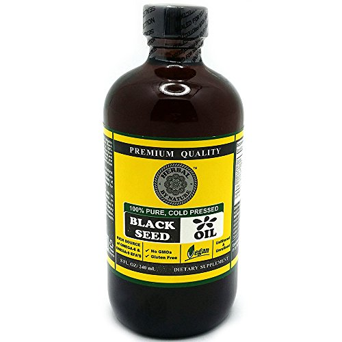 Black Seed Oil Cold Pressed - 100% Pure, Premium Quality - Organic Herbal by Nature - Dietary Supplement - Gluten Free - Anti Inflammatory - Best for Cleansing - Unfiltered and Unrefined - Colon Cleanse - 8oz