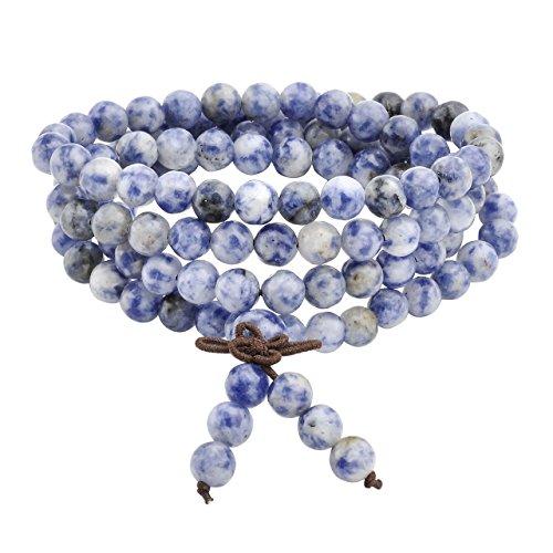 Jovivi - Collar o pulsera tibetana elástica de varias vueltas, con abalorios de perlas naturales de 6 mm de color azul sodalita, diseño unisex