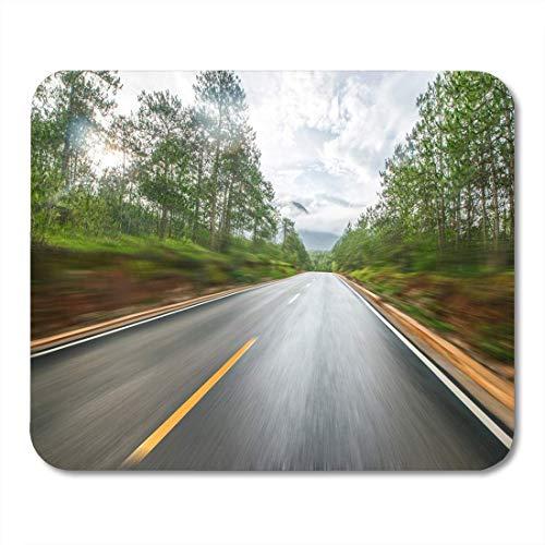 Mauspad blauer asphalt waldstraßen grüner herbst schöne schönheit bitumen mousepad für notebooks, Desktop-computer mausmatten