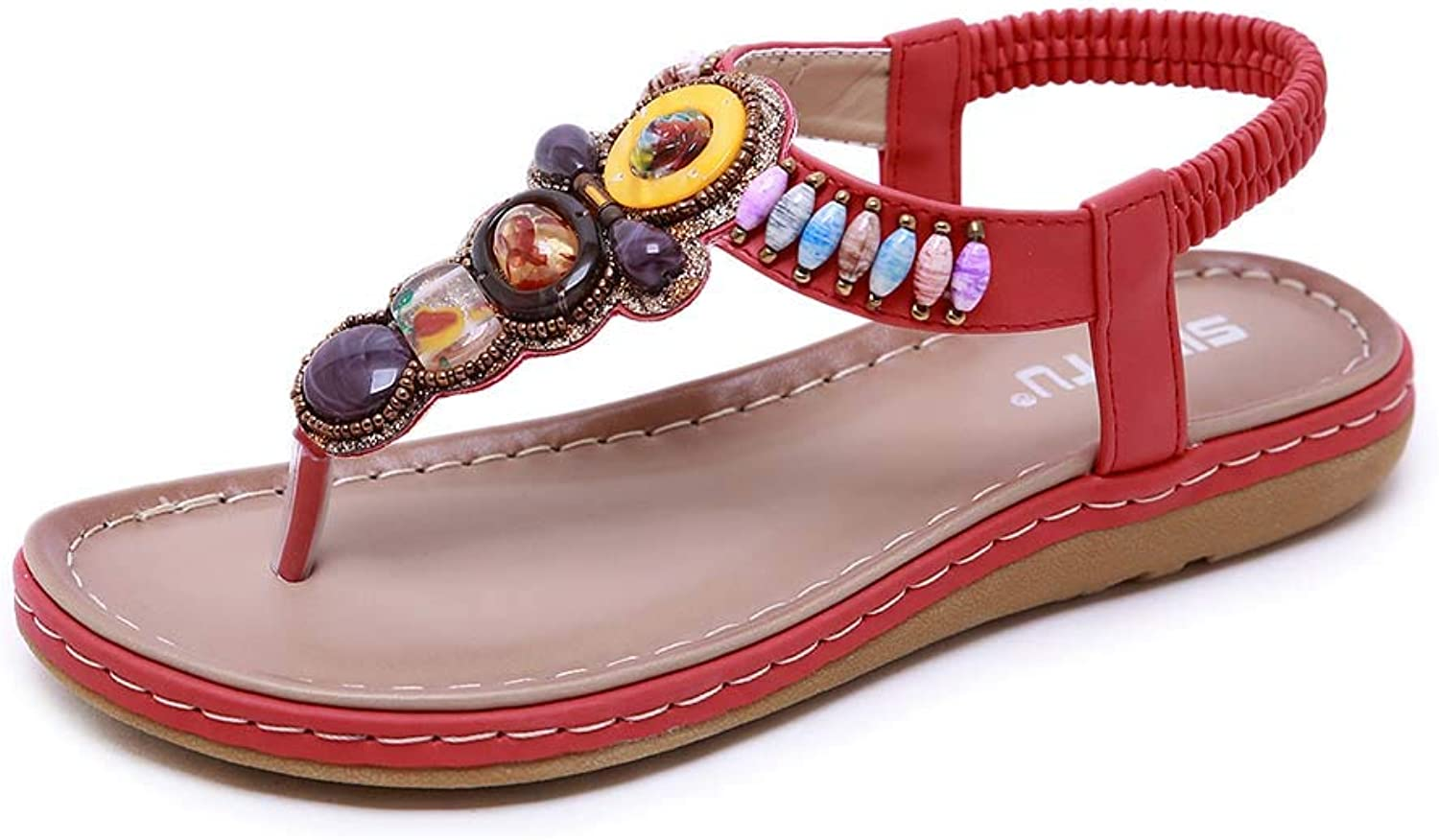 Women's Summer Elastic Sparkle Bohemian Beaded Ankle Walking T-Strap Clip Toe Beach Casual Sandals,Red,42