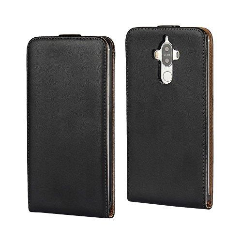Huawei Mate 9 Handy Tasche Flip Hülle Genuine Split Echt Leder Klapp Etui Schutz Hülle Cover Schwarz