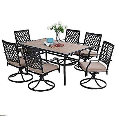 Sophia & William Outdoor Patio Dining Set 7 Pieces Metal Furniture Set, 6 x Swivel Chairs with 1 Rectangular Wood Like Umbrella Table for Outdoor Lawn Garden