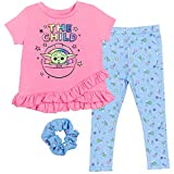 STAR WARS The Mandalorian Baby Yoda Little Girls Short Sleeve T-Shirt Legging Set Pink/Blue 6-6X