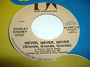 SHIRLEY BASSEy 45 RPM Never, Never, Never / Day by Day
