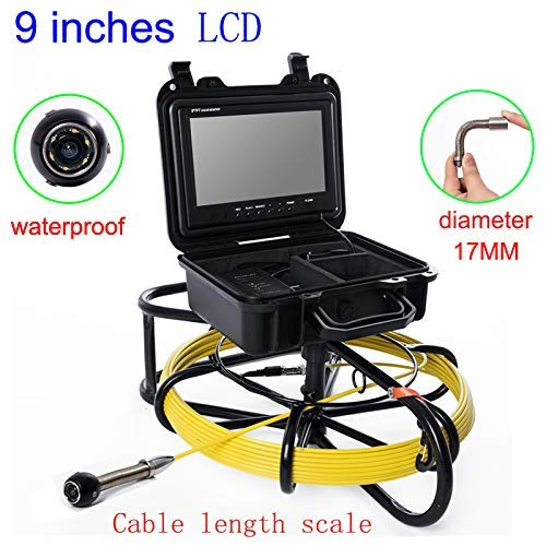 Review Mieg 9 inch 17mm Iron Frame Industrial Pipe Sewer Detection Camera IP68 Waterproof Drainage D...