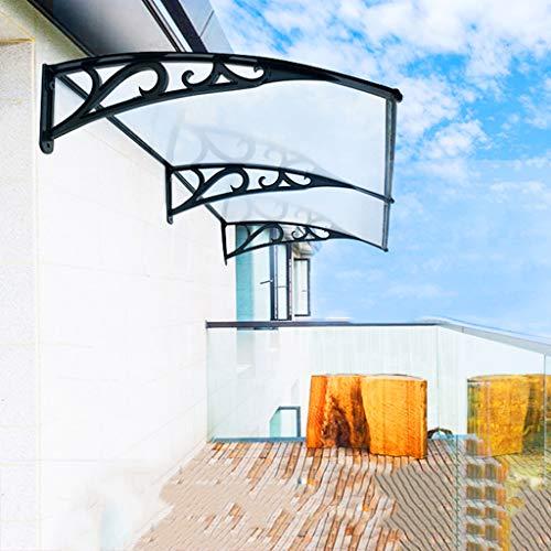 WAKTN-Türüberdachung Schutzdach Markise Balkon Sonnenschutz, Vordachabdeckung, Transparentes PC Transparentes Endurance Board, 60cm Aluminiumlegierungshalterung