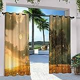 Fantasy Decor - Cortinas para patio al aire libre, con flores, árbol, luna, nubes oscuras y sol poniente, para casa de campo, glorieta de campo, pasillo de 120 x 72 pulgadas, verde y amarillo