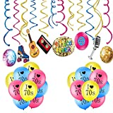 Flymmy 70s Theme Party Decorations Kit with I Love 70s Balloons for Hippie Adults Birthday 70's Party Decorations 30CT 1970s Hanging Swirl Decorations for Men Women 70s Disco 70's Retro Party Christmas