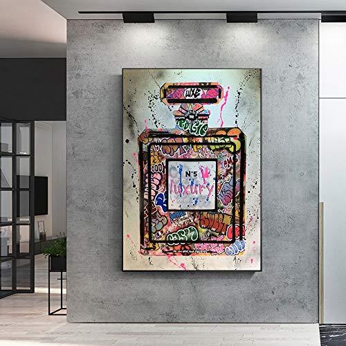 Graffiti Perfume Street Art lienzo impreso pintura cuadro de pared moda moderna mujer sala de estar decoración del hogar póster 60x140 CM (sin marco)
