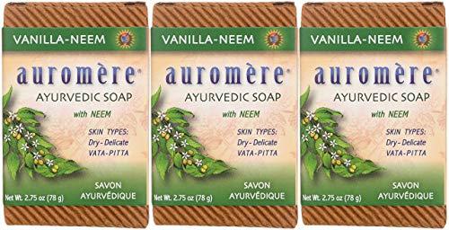 Auromere Ayurvedic Bar Soap, Vanilla Neem - Eco Friendly, Handmade,...