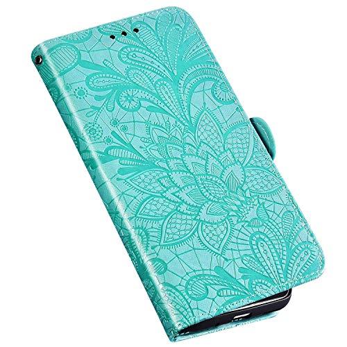 QPOLLY Kompatibel für Xiaomi Mi CC9 Hülle Leder Tasche Flip Case Spitzeblume Muster Handytasche Magnet Schutzhülle im Brieftasche-Stil mit Kartenfächer Standfunktion,Grün