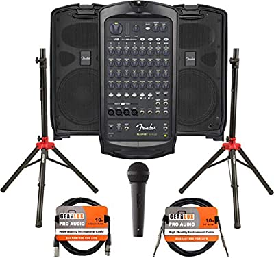 Fender Passport Venue Portable PA System Bundle with Microphone, Compact Speaker Stands, XLR Cable, and Instrument Cable by Fender