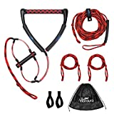 Affordura Wakeboard Rope Water Ski Rope with Floating Handles, Tow Rope for Tubing 4 Sections Tube Tow Rope (75 Feet), Storing Bag Included