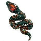 Acosta broches - Gala de color verde esmeralda Cristales de Swarovski - de piel de serpiente Tropical broche con forma de/lámpara de techo - caja de regalo