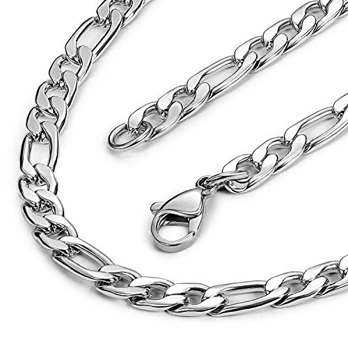 Evevil 5mm Mens Chain Necklace Color Silver Chain for Men Stainless Steel Figaro Chain Necklace (24 inches)