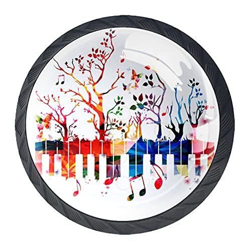 HEOH 4PCS Pomo de Armario,Tirador para cajón,Pomos y Tiradores de Muebles,Pomos,pomos,para Puertas,Armarios de Cocina,Cajones - un Solo Agujero,Árbol y Coloridas Llaves de Piano