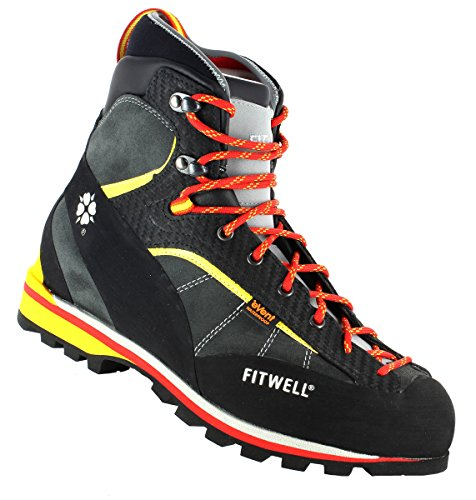 Fitwell Bergschuhe/Wanderschuhe Big Wall Rock EV wasserdicht und steigeisenfest Made IN Italy (UK 9 - EU 43, Antracite)