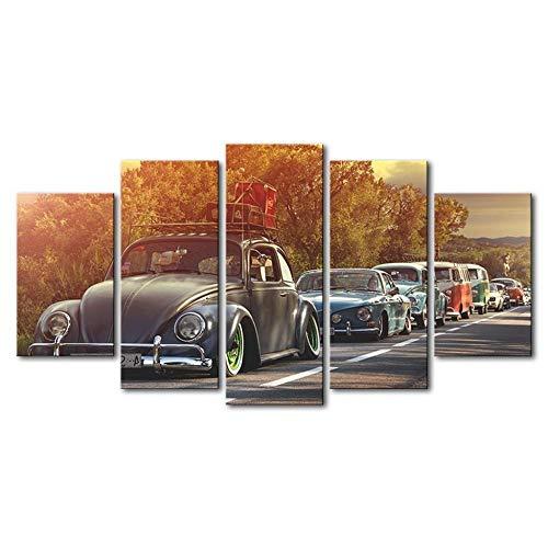 ZDFDC Große Wandkunst Leinwandbilder Käfer Auto Poster Drucke Malerei auf Leinwand Wohnzimmer Wohnkultur 5 Stück-40x60 40x80 40x100 cm kein Rahmen