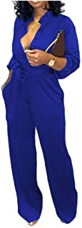 neveraway Womens Pure Color Long-Sleeve Office Band-Collar Jumpsuits Rompers
