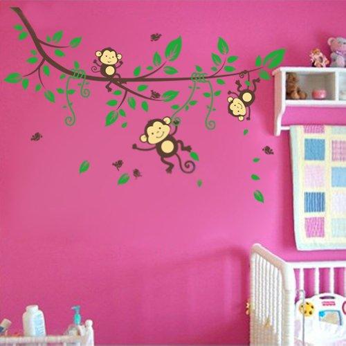 Mignon Singe Jouant Sur La Succursales Original Conception Pvc Mur Autocollants Decalques Enfants Pepiniere Chambre Amovible Maison Decor