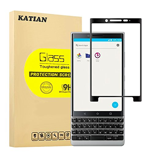 BlackBerry Key2 Screen Protector with 9H Hardness & 3D Touch, KATIAN HD Full Coverage [No-Bubble][Anti-Fingerprint] [Scratch-Proof] [Case-Friendly] Tempered Glass Film for BlackBerry Key2 [Black]