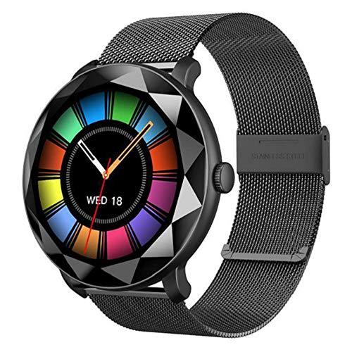 LTLJX Smartwatch, Hombre Mujer Inteligente Deportivo Reloj con Pulsómetro Presión Arterial Monitor de Sueño Podómetro para iOS Android,Negro