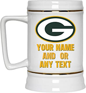 Custom Personalized Green Bay Packers Beer Mug Packers Logo Beer Stein 22 oz White Ceramic Beer Cup NFL NFC Perfect Unique Gift for any Cheesehead Packers Fan