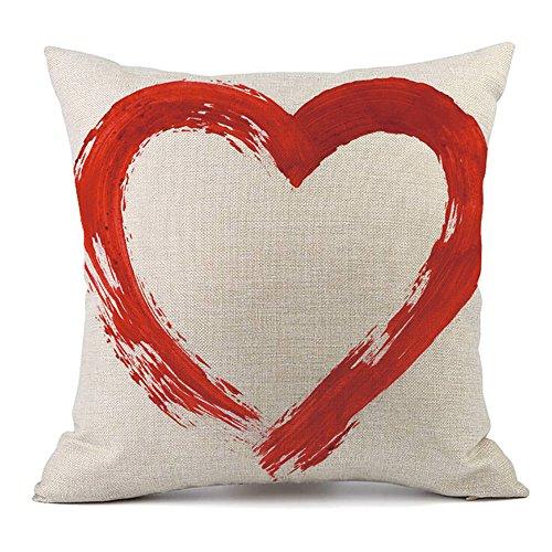 IMJONO Housses de Coussin Lin Saint - Valentin LOVE Imprimé Love Doux Carré Zip démontable Lavables pour la Maison Confortable Taies d'oreillers décoratives 45cm * 45 cm,Cadeau de Valentine's Day(B)