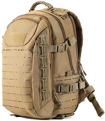 tgbnh Backpack,Military Backpack Tactical Airsoft Mountaineering Bag 25L Waterproof, Scratch Resistant, Wearable, Windproof For Men And Women (Color : Khaki)