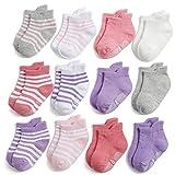 Yafane 12 Paar Baby Socken Antirutsch Anti-Rutsch Kinder Kleinkinder Babysocken für Baby Jungen & Mädchen (Mädchen, 1-3 Jahre)