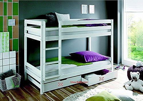 Etagenbett Kevin Kiefer massiv Farbe  Weiß 90x200cm mit Rollrosten