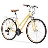 sixthreezero Pave N' Trail Women's 21-Speed Hybrid Bike, 26' Wheels/ 17' Frame, Cream, 17'/One Size