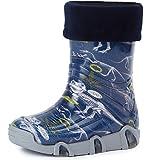 Ladeheid Botas de Agua Zapatos de Seguridad Calzado Unisex Niños Niñas Swk 27 (Azul Oscuro Dinosaur, 23/24 EU)