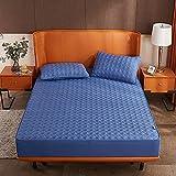 HAIBA Protector de colchón de diseño lujoso, como sábana bajera, cubrecama, sobrecolchón, también adecuado para camas de muelles y de agua, extra suave y suave, azul 002, 180 x 220 cm + 25 cm