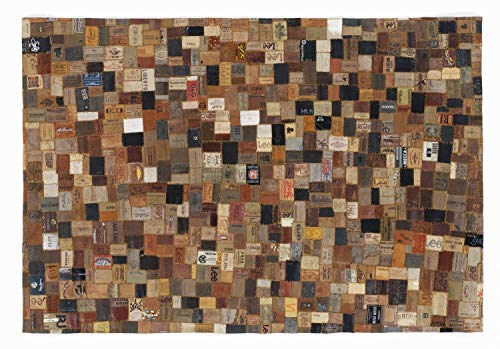 JEANS LABEL Rinderfell Lederteppich Patchwork in multicolor, Größe: 70x140 cm