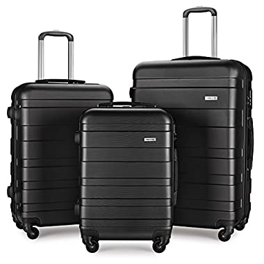 Luggage Set Spinner Hard Shell Suitcase Lightweight Carry On - 3 Piece (20  24  28 ) (Black4)