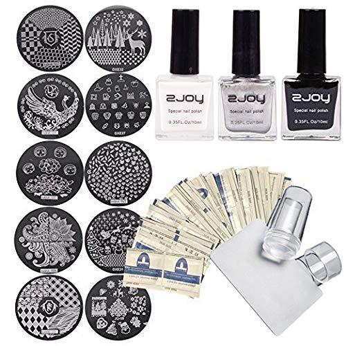 Kits d'estampage, Kit d'emboutissage polonais 3 en argent blanc noir, Tampons et grattoirs pour ongles en silicone transparents, 10 motifs aléatoires, 50 enveloppements de solvant emballés