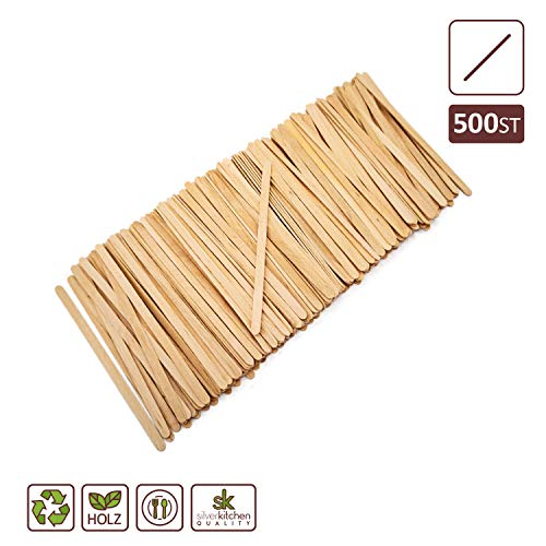 Silverkitchen 500x Bio Holz Rührstäbchen 17,8 cm | für Coffee to Go Becher | biologisch abbaubar umweltfreundlich | stabiles Einmalbesteck 100% natürlich | für Kaffee Tee Catering Picknick UVM